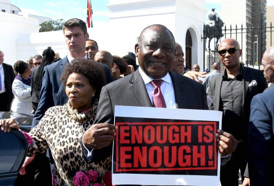 Ramaphosa was forced to address protestors whose demonstrations coincided with the World Economic Forum on Africa in Cape Town last week. Image: GCIS