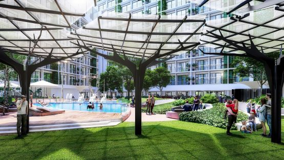 Wedgewood Sandton is set to have solar innovations such as these 'solar trees and is aiming for an Edge green building certification. Image: Supplied