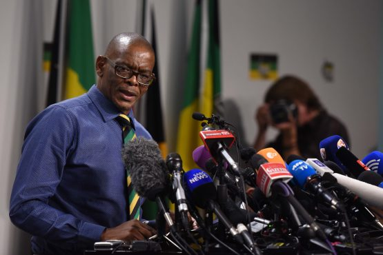 ANC Secretary General, Ace Magashule briefs media about the details of the ANCs recall of President Jacob Zuma at Luthuli House in the Johannesburg CBD. Picture: Bloomberg