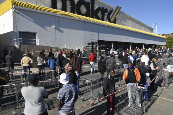 Keen, but patient … shoppers queue to buy alcohol at a Makro store in Roodepoort on Monday. Image: Michel Bega, Citizen.