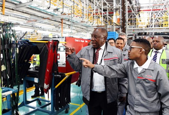 President Cyril Ramaphosa pictured in April 2019 during a tour of the plant where the new Navara will be built. Image: Siyabulela Duda, GCIS