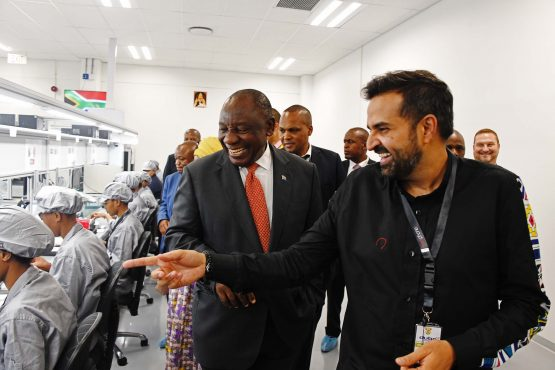 Ashish Thakkar, Mara Group's CEO (right) giving President Cyril Ramaphosa and other diginataries a tour of the group's new smartphone manufacturing plant at Durban's Dube TradePort SEZ on Thursday. Image: Kopano Tlape, GCIS