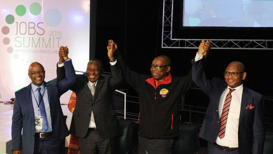 Business, labour and community representatives with President Cyril Ramaphosa at the Jobs Summit held on October 4 and 5. Picture: Siyabulela Duda