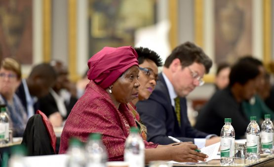 Minister in the presidency Nkosazana Dlamini-Zuma (left), pictured at the Colloquium on Land Reform and Agriculture held in Boksburg in December. Photograph: Kopano Tlape/GCIS
