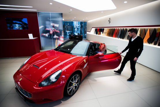 Will the value of the Ferrari California outperform that of a portfolio investment? Picture: Bloomberg