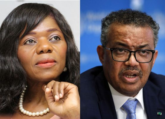 Thuli Madonsela and Tedros Adhanom Ghebreyesus. Madonsela says a return to the Disaster Management Act framework by President Cyril Ramaphosa would allow opposition parties and civil society to be involved and take the 'monopoly' away from the NCCC. Image: Moneyweb and Stefan Wermuth, Bloomberg