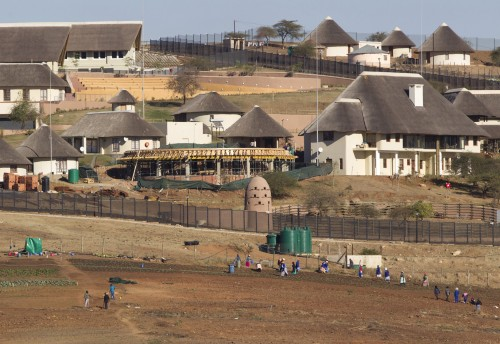 A general view of the Nkandla home (behind the huts) of former President Jacob Zuma in Nkandla.