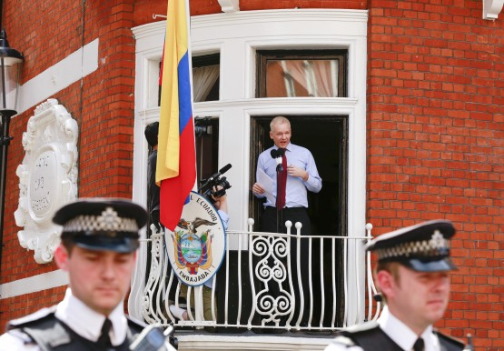 WikiLeaks founder Julian Assange speaks to the media outside the Ecuador embassy. Picture: Reuters