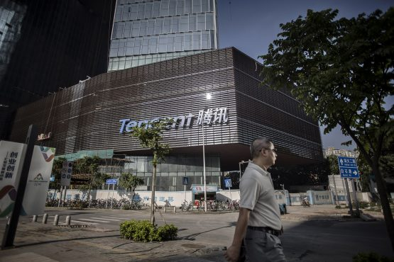 A pedestrian walks past Tencent headquarters in Shenzhen, China. Picture: Qilai Shen/Bloomberg
