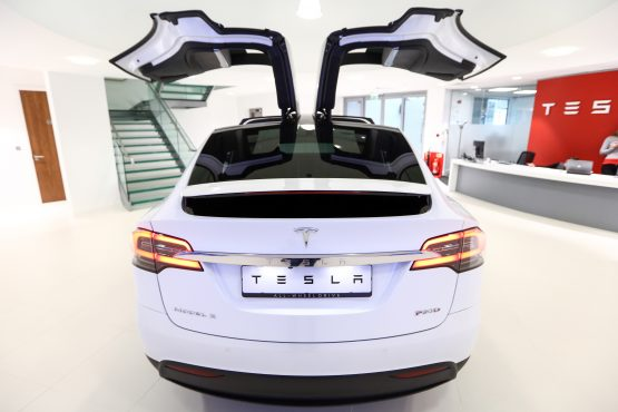 A Tesla Motors Model X P90D electric SUV stands on display at a Tesla Motors showroom in London. Picture: Chris Ratcliffe/Bloomberg