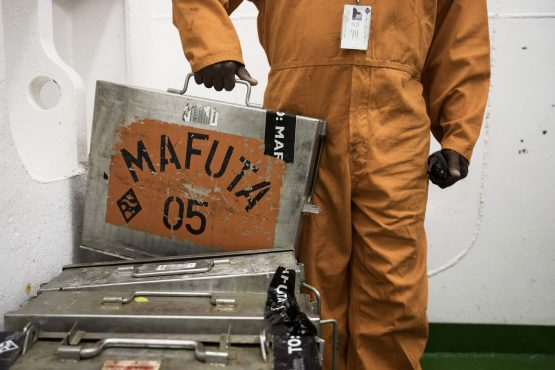 James Bond-style steel cases are use to ship tins of marine diamonds by helicopter thrice weekly to secure onshore vaults. Picture: Simon Dawson/Bloomberg