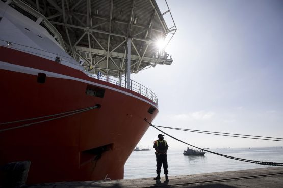 Debmarine Nambia's $157 million SS Nujoma diamond exploration and sampling vessel ready for operations following its inauguration at Walvis Bay port, on June 15. Its the most technologically advanced marine mining vessel in the world. Picture: Simon Dawson/Bloomberg