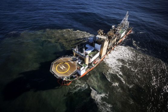 The Mafuta exploration vessel dredges the seabed at depths of around 150 meters off the Namibian coast. Picture: Simon Dawson/Bloomberg