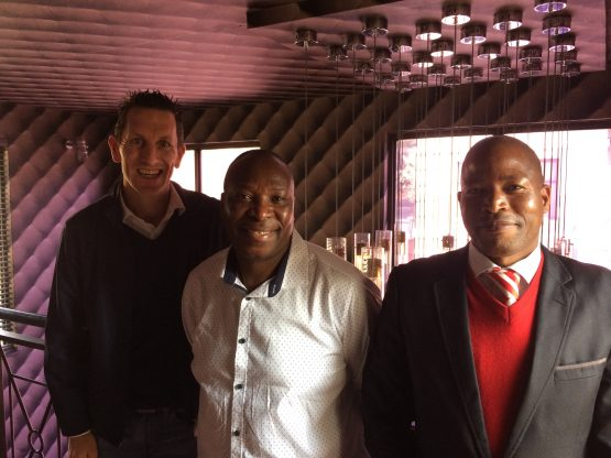 From left to right: Moneyweb reporter Warren Thompson, Phineas Letsoalo and Moneyweb sound engineer Hezekiel Mafokwane. Source: File photo