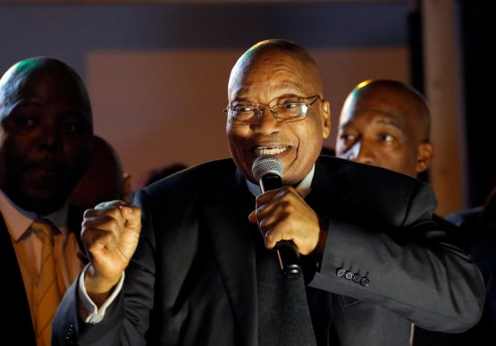South African President Jacob Zuma addresses his supporters after he survived a no-confidence motion in Cape Town, South Africa, August 8, 2017. Photo source: Reuters
