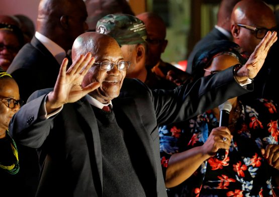 South Africa's President Jacob Zuma celebrates with his supporters after he survived a no-confidence motion in parliament in Cape Town. Picture: Mike Hutchings/Reuters