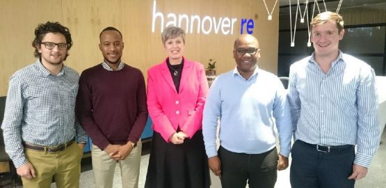 Pineapple co-founders Matthew Smith (left), Ndabenhle Ngulube, and Marnus van Heerden (far right). Pineapple aims to remove conflict of interest in insurance and provide transparency by showing policyholders how their premiums are used. Picture: Supplied