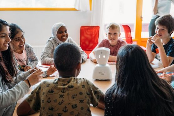No Isolation's AVI robot avatar helps children stuck at home interact with teachers and peers. Picture: No Isolation