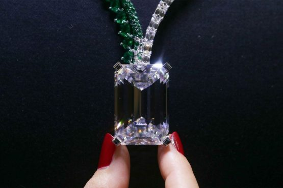 A necklace, known as Creation I, featuring a 163.41 carat diamond. Online Jeweller says the diamond's low price is a worrying sign for the top end of the diamond market. Picture: Daniel Leal-Olivas