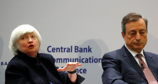 Fed chair Janet Yellen and ECB president Mario Draghi at the ECB's Central Bank Communications Conference in Frankfurt. Central bankers say forward guidance should always be viewed as depending on how the economy actually develops. Picture: Reuters