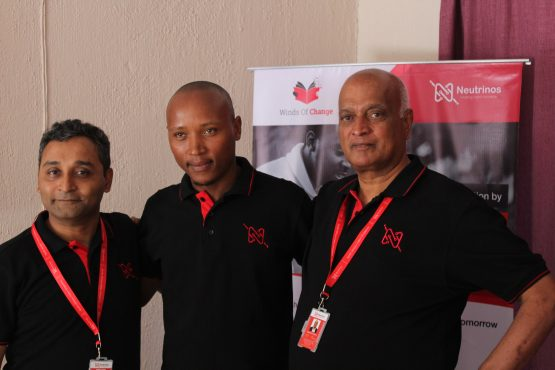CEO and founder of Neutrinos, Samik Ghosh pictured with pilot candidate Tukiso Mateka and executive director Dayanand-Virasamy. Picture: Supplied