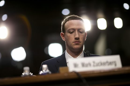 Mark Zuckerberg, CEO and founder of Facebook, listens during a joint hearing of the Senate Judiciary and Commerce Committees in Washington, on Tuesday, April 10 2018. Picture: Bloomberg