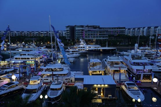 Yachts sit moored during the Singapore Yacht Show at Sentosa Cove in Singapore. Picture: Bloomberg