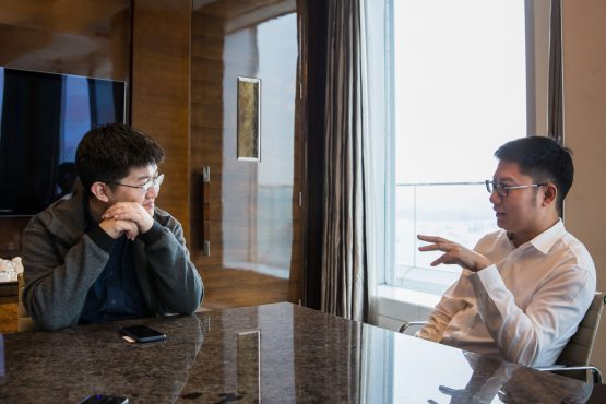Jianping Kong, co-chairman of Canaan Creative (right) and Ng Zhang, co-chairman (left). Picture: Bloomberg