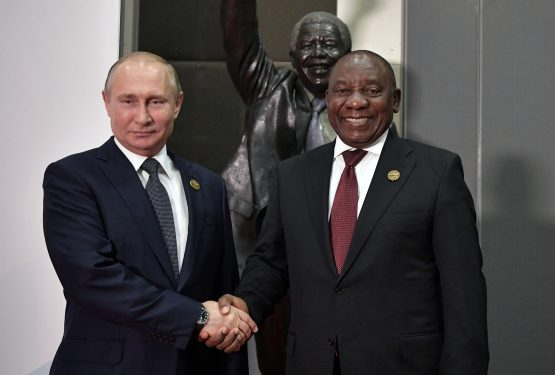 Russian President Vladimir Putin, pictured with President Ramaphosa at the Brics Summit in July, presides over a nation whose citizens have more freedom to make their own economic decisions than South Africans. Picture: Sputnik Alexei /Nikolsky/Kremlin via Reuters