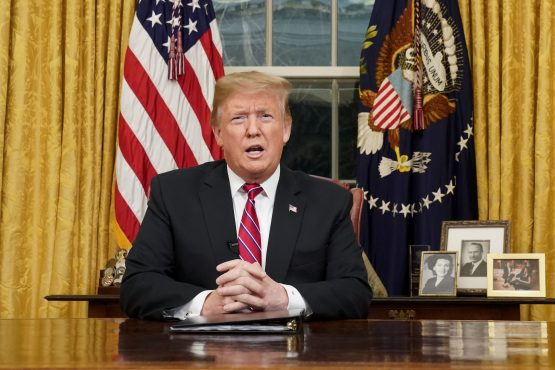 President Donald Trump speaks during an address on border security in the Oval Office of the White House in Washington, DC, US. Picture: Pool/Bloomberg