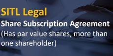 Share Subscription Agreement (Has par value shares, more than one shareholder)