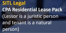 CPA Residential Lease Pack  (Lessor is a juristic person and tenant is a natural person)