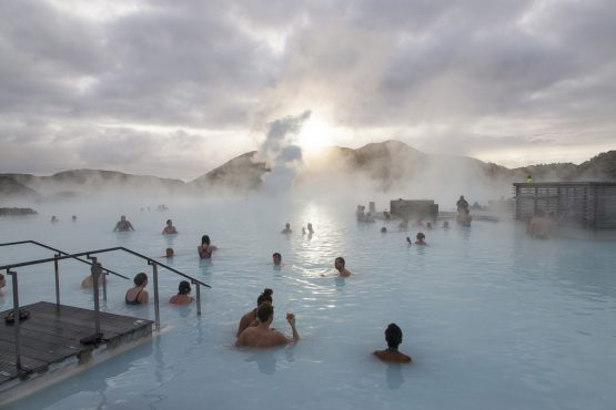 The Blue Lagoon geothermal spa in Iceland is kept nicely warm by the forces of nature, but we need geysers – and electricity. Photographer: Arnaldur Halldorsson/Bloomberg