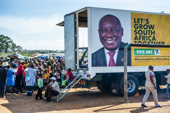 The face of Cyril Ramaphosa is displayed on the side of a campaign truck during an ANC campaign event in Bloemfontein on April 7. Picture: Waldo Swiegers/Bloomberg