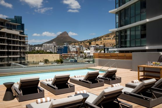 The pool deck of the new hotel, which began accepting guests at the start of the country's tourism high season in December. Image: Supplied