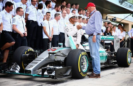 Lewis Hamilton shakes hands with Niki Lauda at the Abu Dhabi Formula One Grand Prix. Picture: Clive Mason/Getty Images