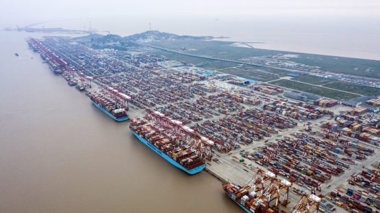 Container ships are docked next to gantry cranes as shipping containers sit stacked at the Yangshan Deepwater Port, operated by Shanghai International Port Group Co. Picture: Qilai Shen/Bloomberg