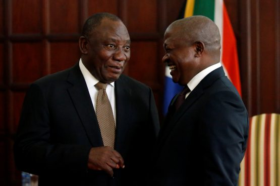 President Cyril Ramaphosa talks with deputy president, David Mabuza, after he sworn-in as lawmaker for the ANC. Picture: Siphiwe Sibeko/Reuters