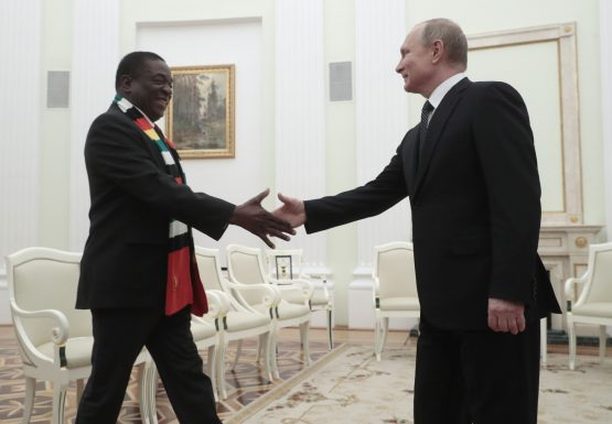Zimbabwean President Emmerson Mnangagwa is trying to lure investment to the country to help rebuild the economy. Picture: Sergei Chirikov, AFP, Getty Images