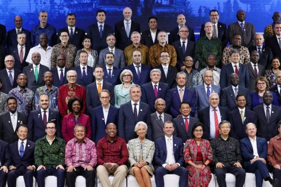 Finance ministers and central bank's governors attend the family photo session at the IMF and World Bank Group Annual Meetings in Nusa Dua, Bali, Indonesia. Picture: Bloomberg