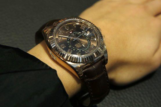 An employee demonstrates a Rolex SKY-DWELLEROyster, 42 mm, Everose gold wristwatch at Beyer Chronometrie AG Zurich, Switzerland. Picture: Luke MacGregor/Bloomberg