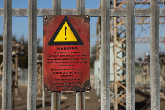 A warning sign outside the Hendrina Power Station in Mpumalanga. Picture: Waldo Swiegers, Bloomberg