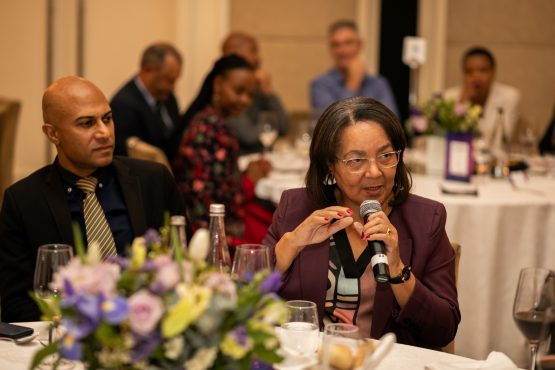 Sapoa CEO Neil Gopal with Minister of Public Works Patricia De Lille on the sidelines of the Sapoa Convention in Cape Town. Image: Supplied