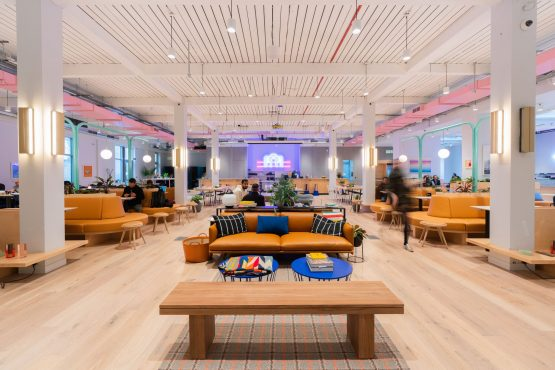 Global giant WeWork offers 'more creative co-working spaces' rather than just serviced offices, as seen in this example of its space at Aviation House in London. Picture: Supplied