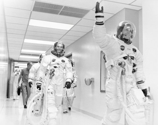 Apollo 11 astronaut Neil Armstrong waves to well wishers on the way out to the transfer van, Cape Canaveral, Florida, July 16, 1969. Mike Collins, Buzz Aldrin and Deke Slayton. Picture: Reuters