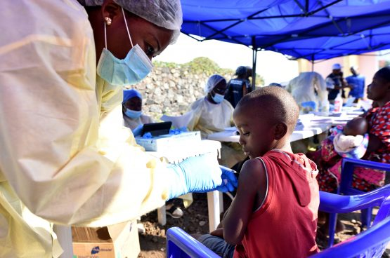 A Congolese health worker administers Ebola vaccine to a child at the Himbi Health Centre in Goma, Democratic Republic of Congo. Picture: Reuters