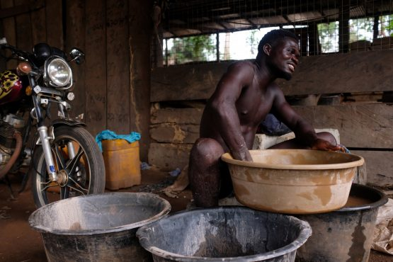 The by-products of mining gold and cutting through rocks are detrimental to miners' health, a number of miners have died from mercury poisoning, an element used to extract gold. Picture: Francis Kokoroko, Reuters