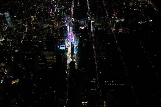 A large section of Manhattan's Upper West Side and Midtown neighbourhoods are seen in darkness from above during a major power outage on July 13, 2019 in New York City. Picture: Scott Heins/Getty Images