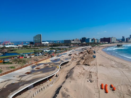 Construction underway on the R300m extension of Durban's beachfront promenade to the Point Waterfront development near the harbour entrance.
