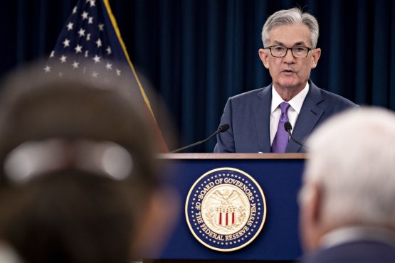 Jerome Powell, chairman of the US Federal Reserve, speaks during a news conference following a Federal Open Market Committee meeting in Washington, DC. Picture: Andrew Harrer/Bloomberg